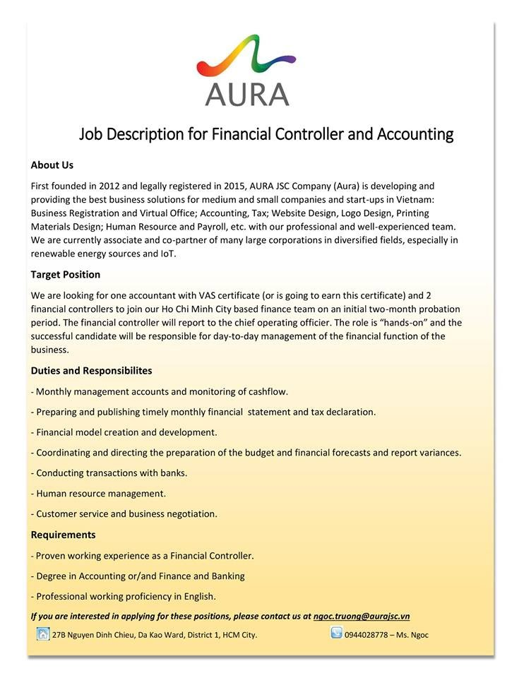 Financial Controller and Accounting required intern, part ...